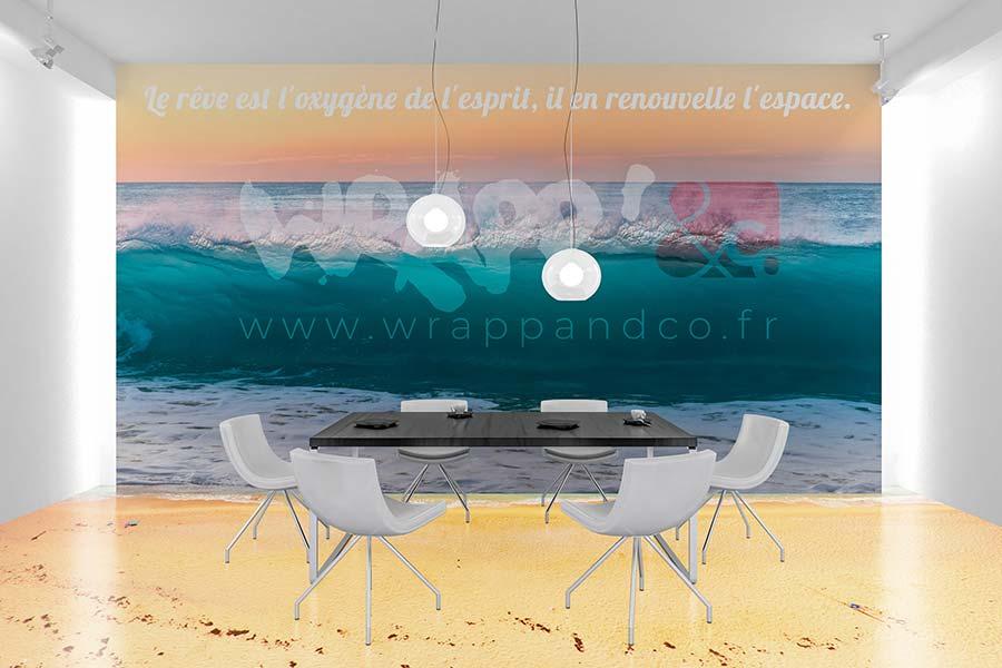 Adhésif mural en vinyle pour personalisation murale d'une salle de réunion